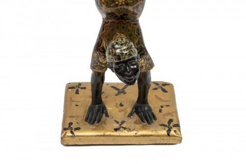 19th century - A Polychrome Venitian Stand representing a Nubian Acrobat
