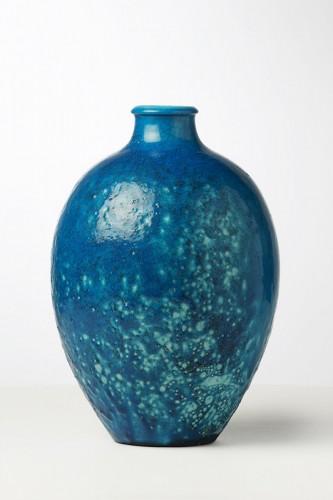 Blue ceramic vase - Edmond Lachenal - Porcelain & Faience Style Art nouveau