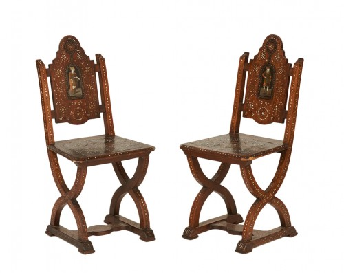 Pair of Early 19th Century Italian Inlaid Chairs
