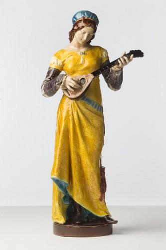 Mandolin player - Andrien Etienne Gaudez - Porcelain & Faience Style Art nouveau