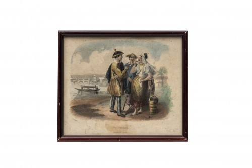 """Set of 5 lithographs """"Customs from elsewhere"""" - 19th century - Engravings & Prints Style"""
