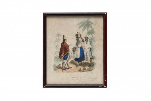 """Engravings & Prints  - Set of 5 lithographs """"Customs from elsewhere"""" - 19th century"""