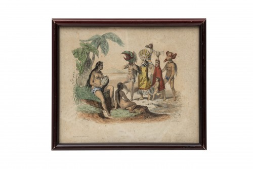 """Set of 5 lithographs """"Customs from elsewhere"""" - 19th century -"""