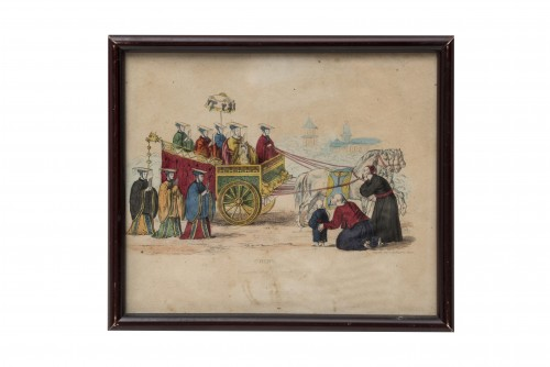 """19th century - Set of 5 lithographs """"Customs from elsewhere"""" - 19th century"""