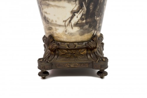 Lighting  - Porcelain lamp decorated with birds - Late 19th century