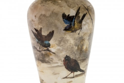 19th century - Porcelain lamp decorated with birds - Late 19th century