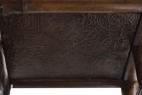 Bamboo and Cordoba leather wall shelf - Perret & Vibert, circa 1880 - Furniture Style