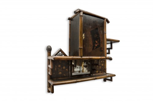 Furniture  - Bamboo and Cordoba leather wall shelf - Perret & Vibert, circa 1880