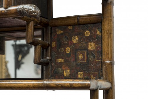 Bamboo and Cordoba leather wall shelf - Perret & Vibert, circa 1880 -