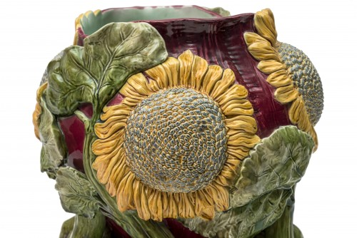 Cover-pot decorated with sunflowers - Austria, late 19th century - Porcelain & Faience Style