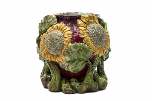 Cover-pot decorated with sunflowers - Austria, late 19th century -