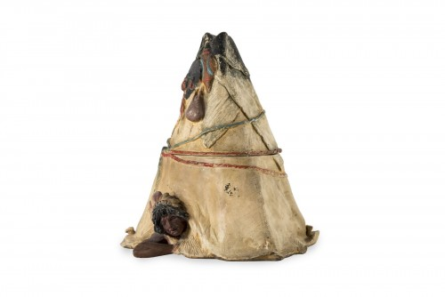 Tobacco pot representing a tepee - Austria, end of the 19th century