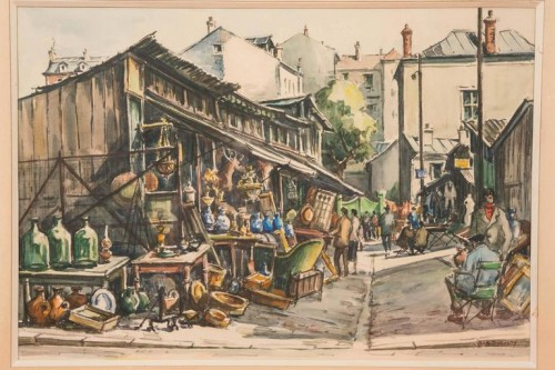 Painting of the Puces de Saint-Ouen - André Duculty, mid 20th century - Paintings & Drawings Style