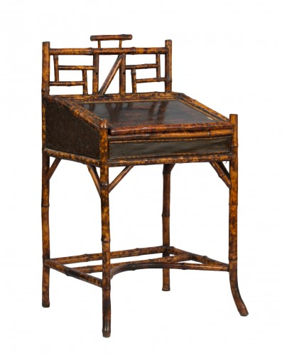 Bamboo and lacquer secretary - France, circa 1890