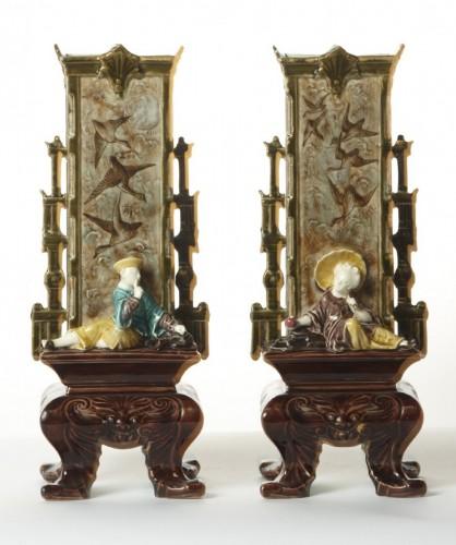 Léon Sazerat - Pair of vases, circa 1880 - Porcelain & Faience Style