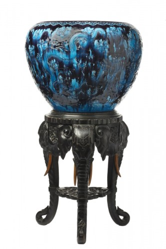 Large dragon vase and pedestal - Faïencerie Collinot & Cie, circa 1870