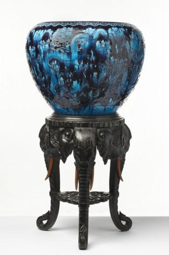 Large dragon vase and pedestal - Faïencerie Collinot & Cie, circa 1870 - Decorative Objects Style Art nouveau