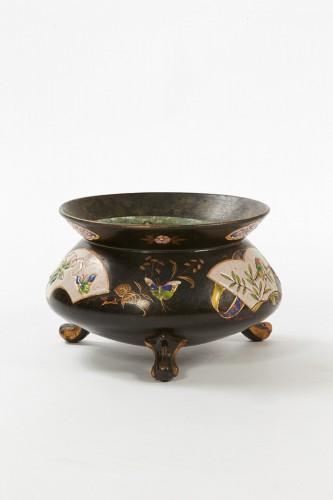 Cover-pot with Japanese decoration - Faïencerie Toul-Bellevue, circa 1960 - Porcelain & Faience Style