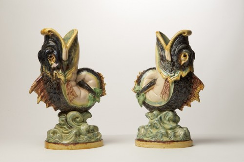 Pair of triton vases - Thomas Victor Sergent - Porcelain & Faience Style