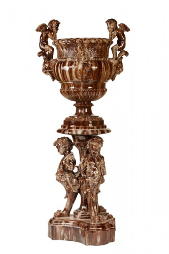 Ceramic column with putti - Jerome Massier Fils, 1890-1900