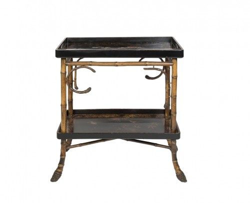 Bamboo and lacquer side table - Perret & Vibert, circa 1880