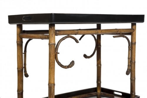 Furniture  - Bamboo and lacquer side table - Perret & Vibert, circa 1880