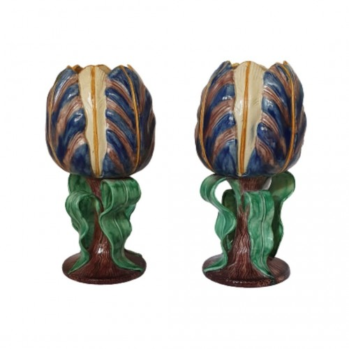 Pair of vases in the shape of flowers - Thomas Victor Sergent, circa 1880