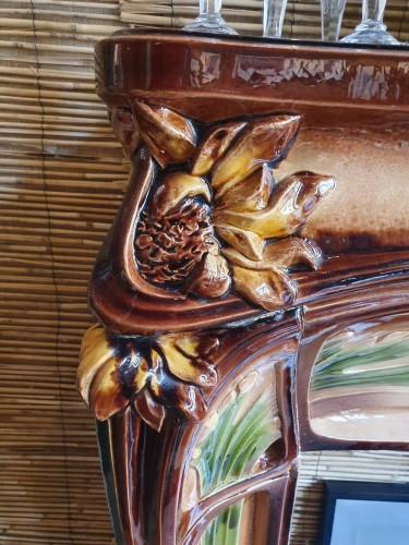 Faïencerie de Vitry-le-François - Glazed earthenware mantel, circa 1910 - Architectural & Garden Style