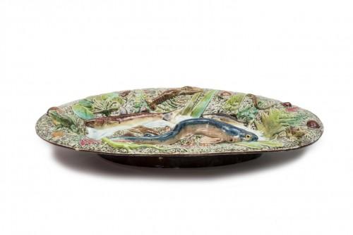 Choisy-le-Roi, France - Blue fish dish, late 19th century  - Porcelain & Faience Style