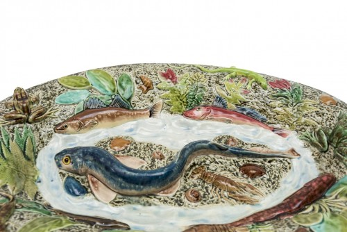 Choisy-le-Roi, France - Blue fish dish, late 19th century  -