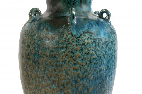 20th century - Blue ase in flamed stoneware, 20th century