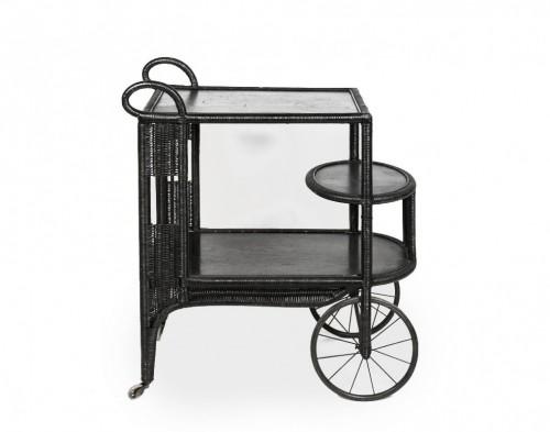 Black rattan trolley, France 20th century