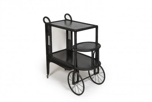 Black rattan trolley, France 20th century - Furniture Style