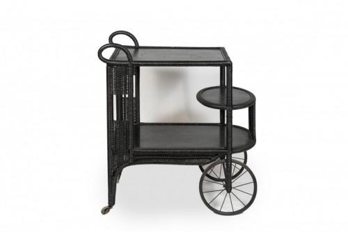 Black rattan trolley, France 20th century -