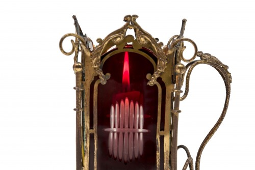Metal and glass candlestick, France circa 1880 -