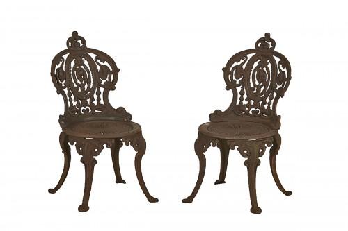 Pair of cast iron chairs, France circa 1900