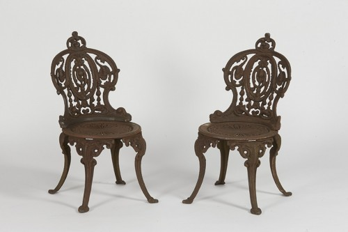 Pair of cast iron chairs, France circa 1900 - Architectural & Garden Style