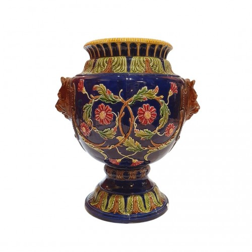 Vase with lion heads,Saint-Amand-les-Eaux, France late 19th century