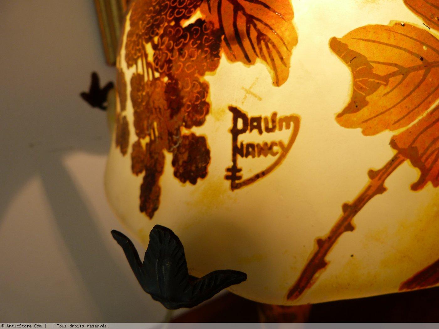 Daum Lampe Champignon En Verre Grave Decor Mures Xxe Siecle N 31542