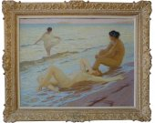 "Octave Guillonnet ""Bathers"" Large painting"