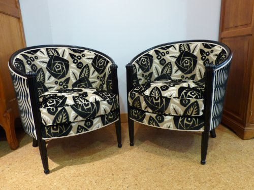 Pair of Art Deco black lacquered armchairs