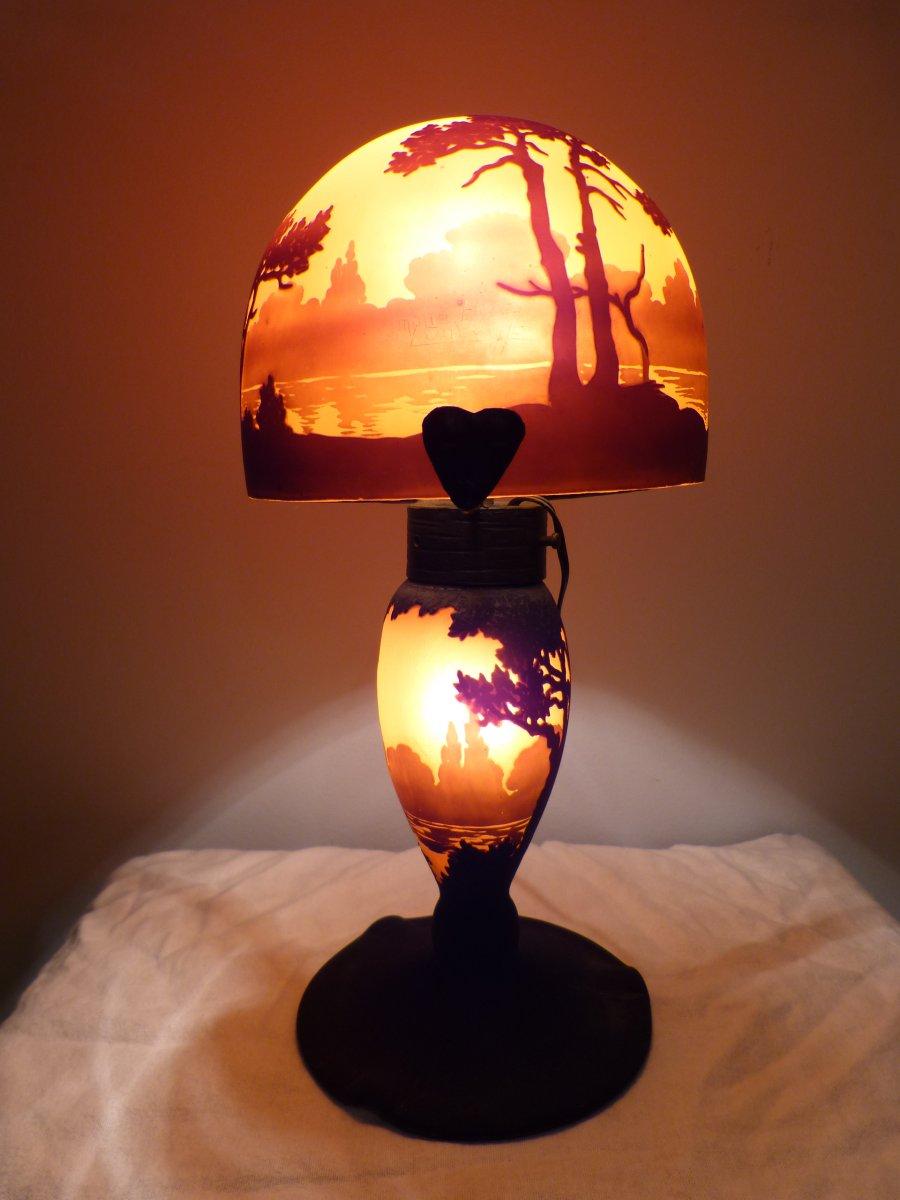 Muller Freres Luneville Lampe Champignon En Verre Grave Decor