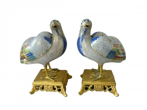 Pair of perfume burners, China late 18th century gilt copper and cloisonné enamels