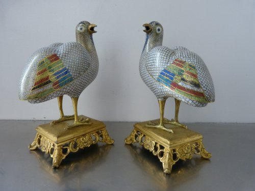 Pair of perfume burners, China late 18th century gilt copper and cloisonné enamels - Asian Art & Antiques Style