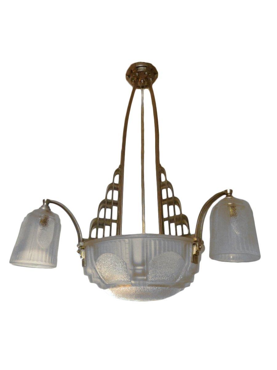 Muller Freres Luneville Lustre Art Deco En Verre Givre Monture