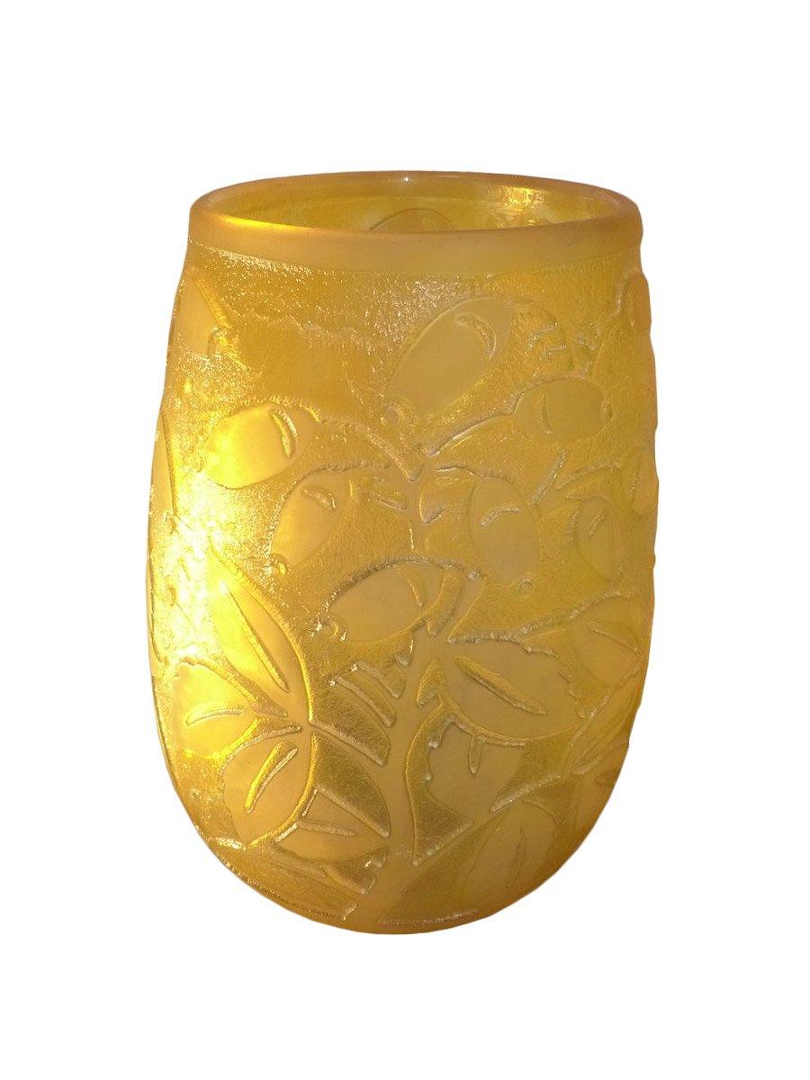 daum nancy grand vase art d co en verre grav d cor de baies xxe si cle. Black Bedroom Furniture Sets. Home Design Ideas