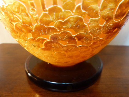 Glass & Crystal  - Le Verre Français - an important Art Deco vase with seaweed