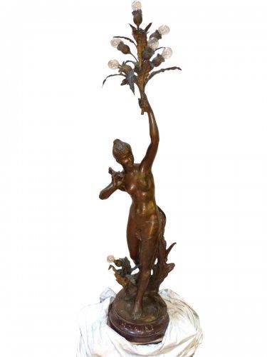 "Large bronze lighting ""Nymph with thistles"" - François Laurent Rolard (1842-1912)"