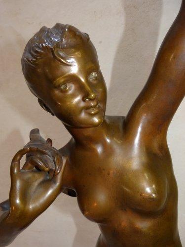 """Art nouveau - Large bronze lighting """"Nymph with thistles"""" - François Laurent Rolard (1842-1912)"""