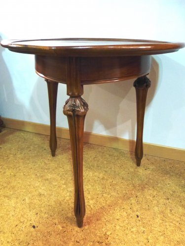 Furniture  - Louis Majorelle - walnut tripod gueridon table